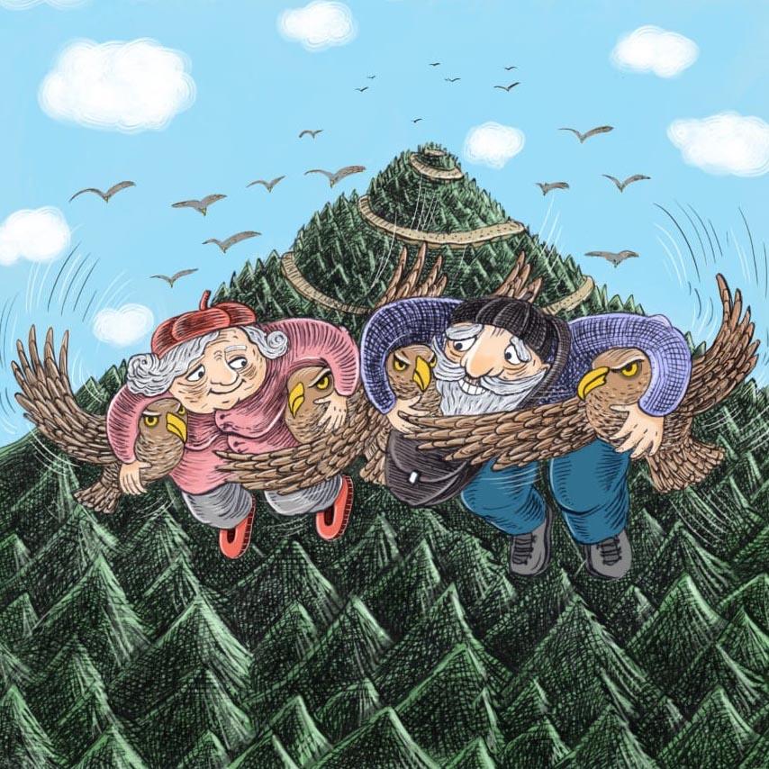 ilustrace od Galiny Miklínové k pohádce O babičce a dědečkovi